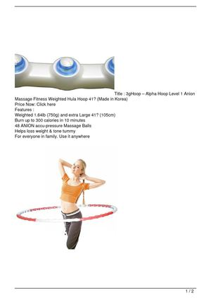 3gHoop – Alpha Hoop Level 1 Anion Massage Fitness Weighted Hula Hoop 41″ (Made in Korea) SALE