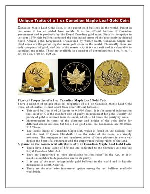 Unique Traits of a 1 oz Canadian Maple Leaf Gold Coin