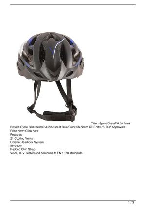 Sport DirectTM 21 Vent Bicycle Cycle Bike Helmet Junior/Adult Blue/Black 56-58cm CE EN1078 TUV Approvals Promo Offer