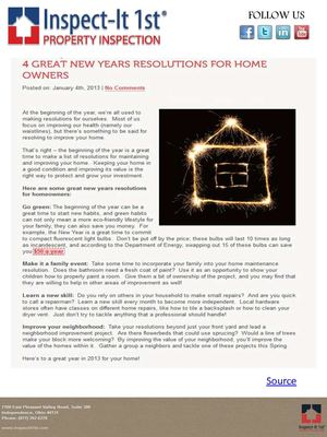 4 Great New Years Resolutions for Home Owners