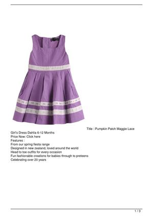 Pumpkin Patch Maggie Lace Girl's Dress Dahlia 6-12 Months On Sale