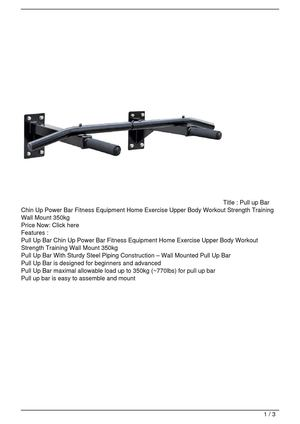 Pull up Bar Chin Up Power Bar Fitness Equipment Home Exercise Upper Body Workout Strength Training Wall Mount 350kg Promo Offer