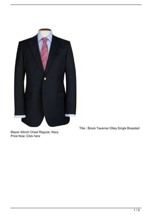 Brook Taverner Otley Single Breasted Blazer 40inch Chest Regular, Navy Big Discount
