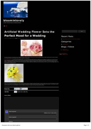 Artificial Wedding Flower Sets the Perfect Mood for a Wedding