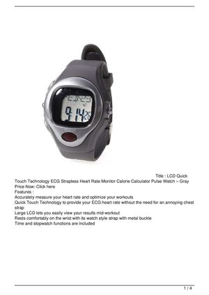 LCD Quick Touch Technology ECG Strapless Heart Rate Monitor Calorie Calculator Pulse Watch – Gray Discount !!