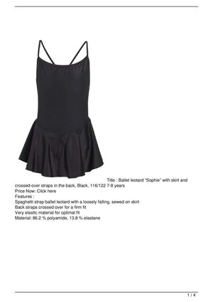 "Ballet leotard ""Sophie"" with skirt and crossed-over straps in the back, Black, 116/122 7-8 years Discount !!"