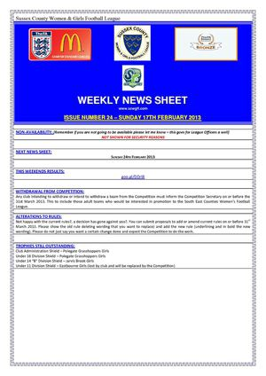 SCWGFL Weekly News Sheet (17th February 2013)
