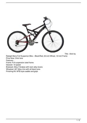 Activ by Raleigh Mens Full Suspenion Bike – Black/Red, 26-inch Wheel, 18 Inch Frame SALE