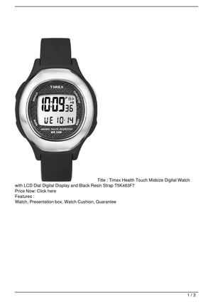 Timex Health Touch Midsize Digital Watch with LCD Dial Digital Display and Black Resin Strap T5K483F7 SALE