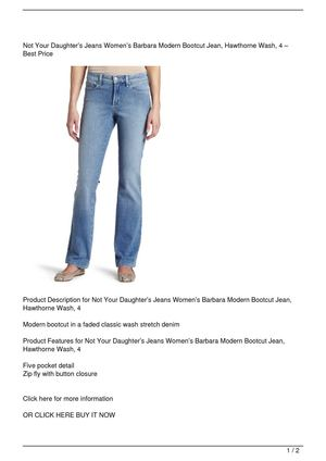 Not Your Daughter's Jeans Women's Barbara Modern Bootcut Jean, Hawthorne Wash, 4 Get Rabate