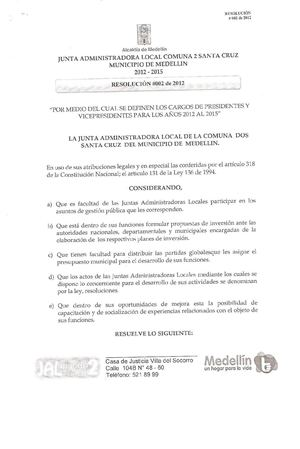 Resolución 002 de 2012