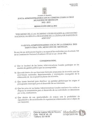 Resolución 005 de 2012