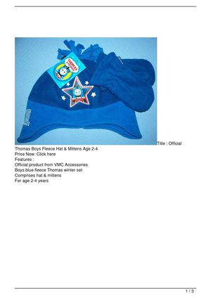 Official Thomas Boys Fleece Hat & Mittens Age 2-4 Discount !!