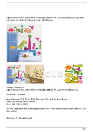 Age of Dinosaur Wall Sticker Thick Removabe Decowall Art Mural Trees Kids Nursery Big Discount