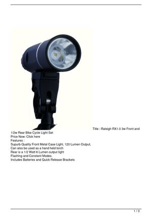 Raleigh RX1.0 3w Front and 1/2w Rear Bike Cycle Light Set Big Discount