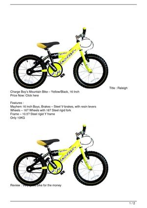 Raleigh Charge Boy's Mountain Bike – Yellow/Black, 16 Inch Discount !!