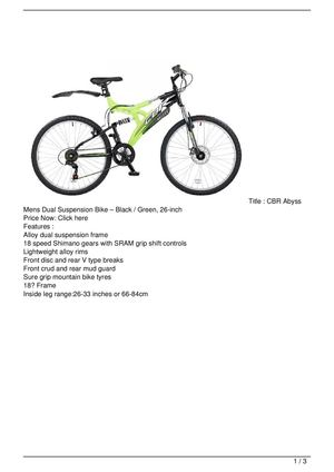 CBR Abyss Mens Dual Suspension Bike – Black / Green, 26-inch On Sale