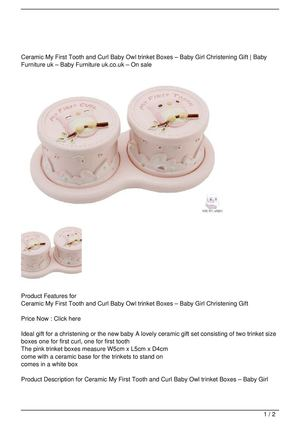 Ceramic My First Tooth and Curl Baby Owl trinket Boxes – Baby Girl Christening Gift Big Discount