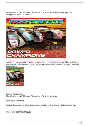 Micro Scalextric G1062 Power Champions 1:64 Scale Race Set Get Rabate