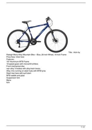 Activ by Raleigh Mens Alloy Mountain Bike – Blue, 26-inch Wheel, 18 Inch Frame Big SALE
