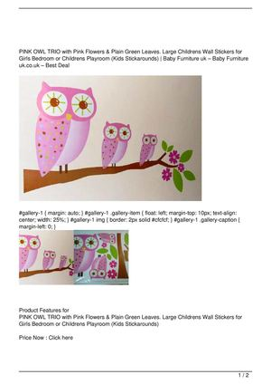 PINK OWL TRIO with Pink Flowers & Plain Green Leaves. Large Childrens Wall Stickers for Girls Bedroom or Childrens Playroom (Kids Stickarounds) On Sale