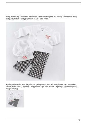 "Baby Aspen ""Big Dreamzzz"" Baby Chef Three Piece Layette In Culinary Themed Gift Box Big Discount"