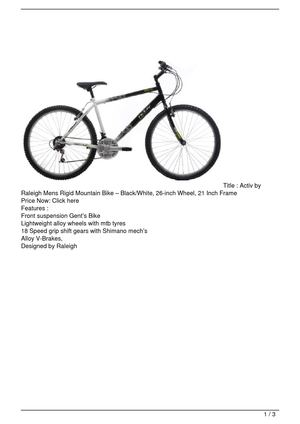 Activ by Raleigh Mens Rigid Mountain Bike – Black/White, 26-inch Wheel, 21 Inch Frame Promo Offer