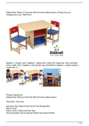 Kidkraft Star Table & 2 Chair Set 26912 Furniture (Multi-colour) Get Rabate