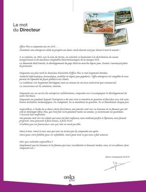Office Plus - Catalogue 2013 - Le mot du Directeur