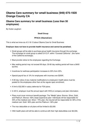 Obama Care summary for small business (949) 675-1920 Orange County CA