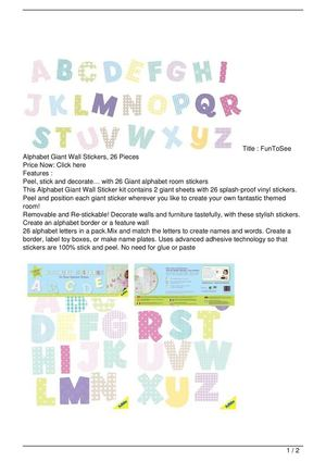 FunToSee Alphabet Giant Wall Stickers, 26 Pieces Big Discount