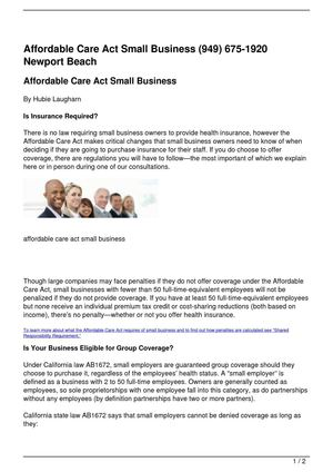 Affordable Care Act Small Business (949) 675-1920 Newport Beach