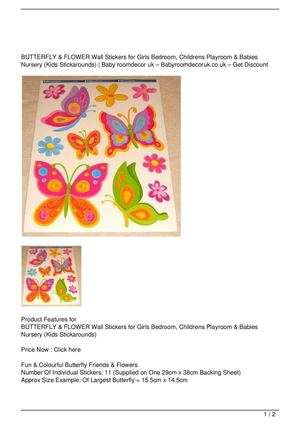 BUTTERFLY & FLOWER Wall Stickers for Girls Bedroom, Childrens Playroom & Babies Nursery (Kids Stickarounds) Big Discount