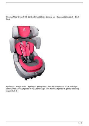 Renolux Step Group 1-2-3 Car Seat  (Red) Discount !!