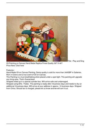 Play and Sing Oil Painting on Canvas Hand Made Replica Finest Quality 36″ X 48″ Big SALE