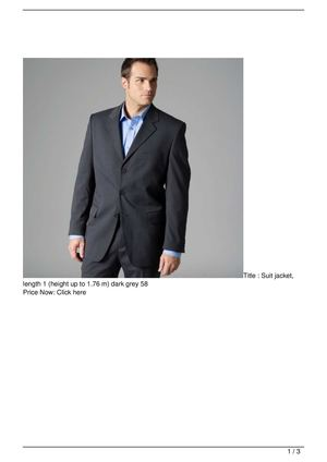 Suit jacket, length 1 (height up to 1.76 m) dark grey 58 Discount !!