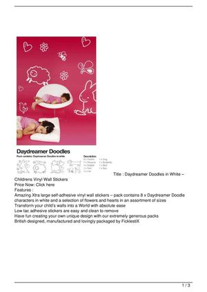 Daydreamer Doodles in White – Childrens Vinyl Wall Stickers Discount !!