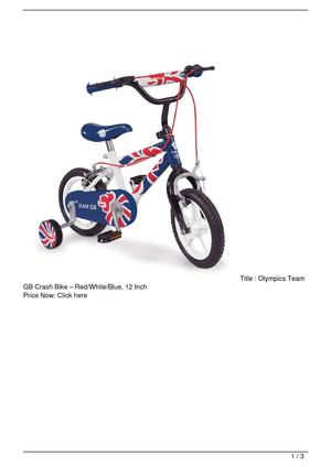 Olympics Team GB Crash Bike – Red/White/Blue, 12 Inch Big SALE