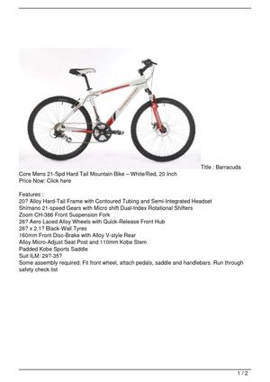 Barracuda Core Mens 21-Spd Hard Tail Mountain Bike – White/Red, 20 Inch SALE