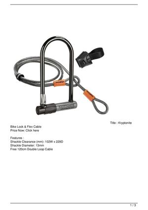 Kryptonite Bike Lock & Flex Cable Discount !!