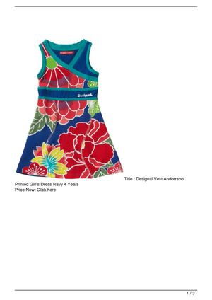 Desigual Vest Andorrano Printed Girl's Dress Navy 4 Years Discount !!