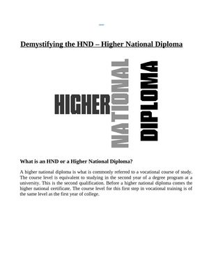 Demystifying the HND - Higher National Diploma