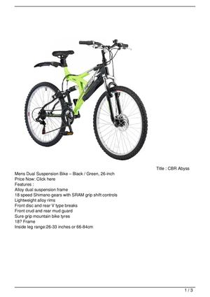 CBR Abyss Mens Dual Suspension Bike – Black / Green, 26-inch Discount !!