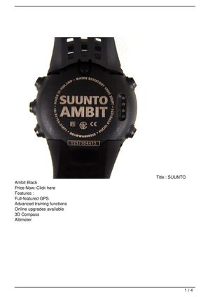 SUUNTO Ambit Black Promo Offer