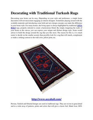 Decorating With Traditional Turkush Rugs