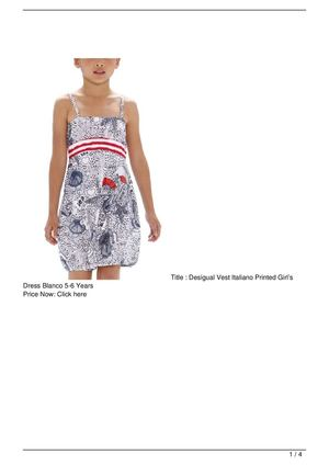 Desigual Vest Italiano Printed Girl's Dress Blanco 5-6 Years On Sale