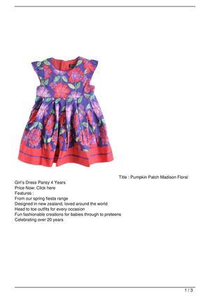 Pumpkin Patch Madison Floral Girl's Dress Pansy 4 Years Big Discount