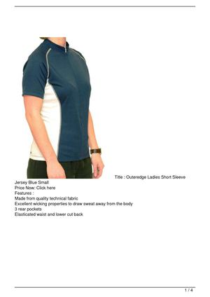 Outeredge Ladies Short Sleeve Jersey Blue Small Get Rabate