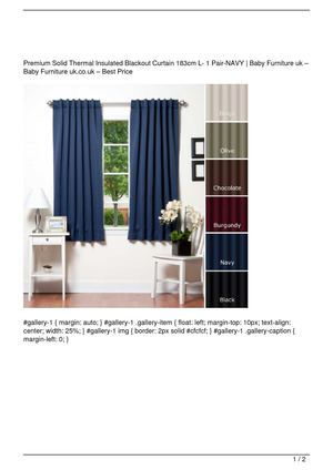 Premium Solid Thermal Insulated Blackout Curtain 183cm L- 1 Pair-NAVY Get Rabate