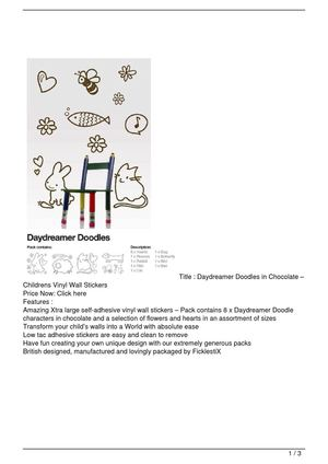 Daydreamer Doodles in Chocolate – Childrens Vinyl Wall Stickers Promo Offer